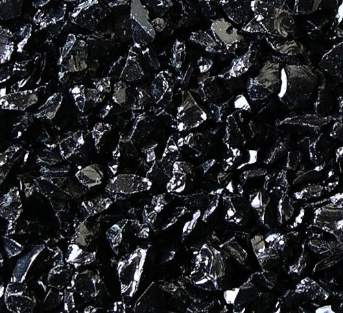 Fireplace Glass Rocks, BLACK ~3/8-1/2'', 40 LBS by Fireplace Glass San Diego