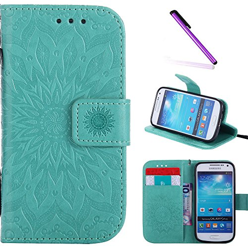Galaxy S4 Mini Case,LEECOCO Fancy Embossed Floral Pattern Wallet Case with Card / Cash Slots [Kickstand] Shockproof PU Leather Flip Case Cover for Samsung Galaxy S4 Mini i9190 Mandala Green (Samsung Galaxy S4 Mini Phone Case)