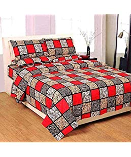 Shop4Indians 3D Glace Cotton King Size Double Bed Sheet with 2 Pillow Covers