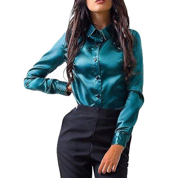 Blusas de mujer Blusa de mujer Camisa de seda de color sólido Botón Camisa suelta Blusa Camisa casual Tops de manga larga Túnicas Manga larga de manga larga ( Color : Verde , tamaño : Medium )