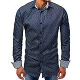 Faionny Clearance Sale Men Point Denim Lapel Shirt Autumn Long-Sleeve Beefy Tops Button Basic Solid Blouse