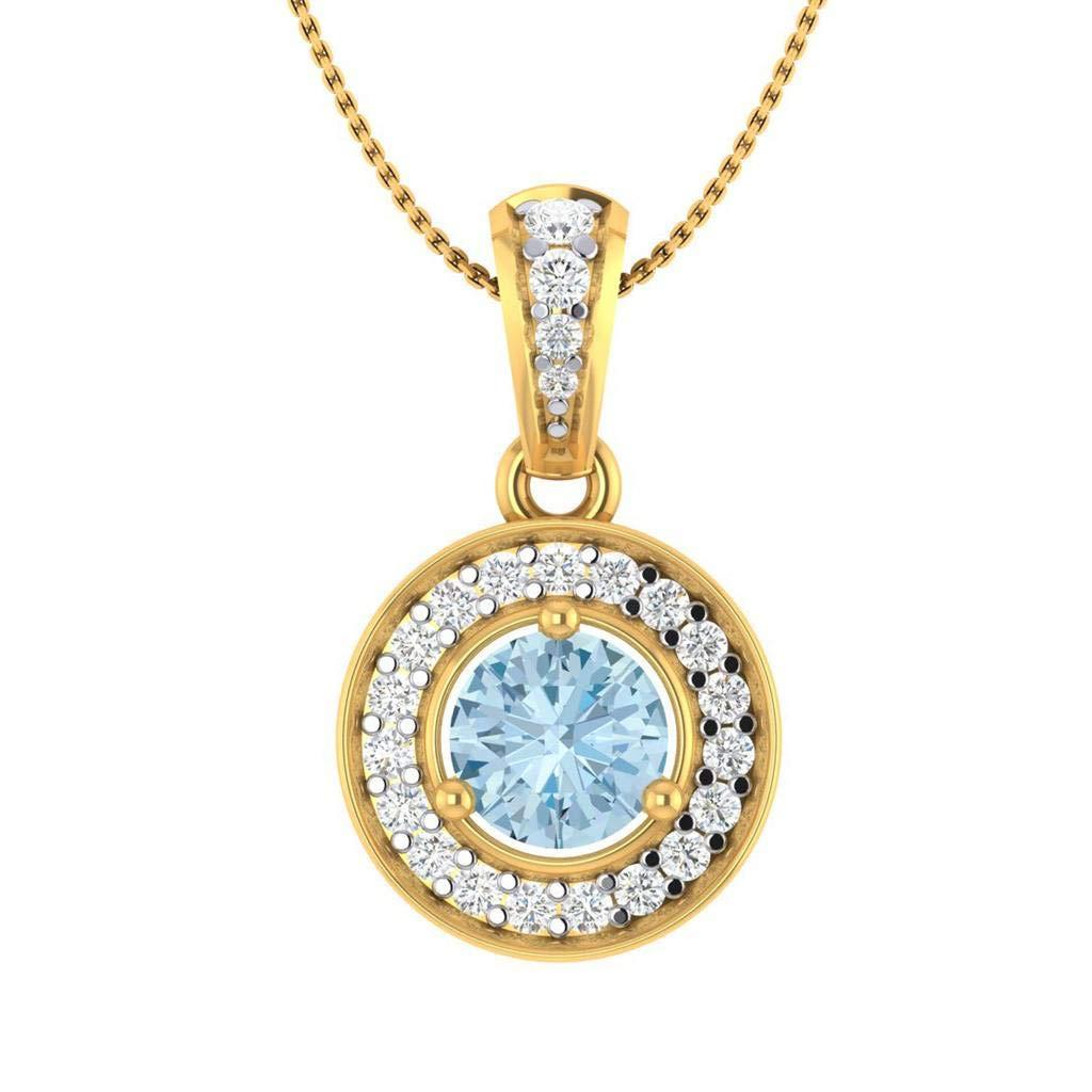 Hanssini Jewels 2.00 CT Round Cut Aquamarine Halo CZ 14k Yellow Gold Plated Pendant Necklace 18 Chain