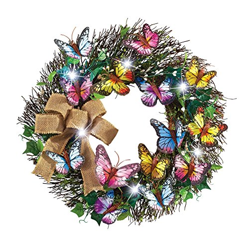 LED Lighted Butterfly Wreath Multi