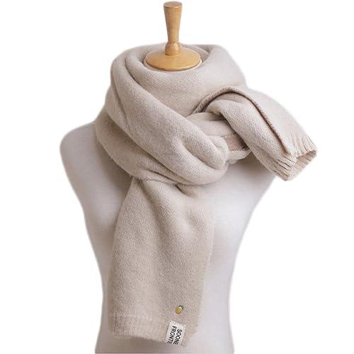 Himifashion - Set de bufanda, gorro y guantes - para mujer Blanco beige Talla única