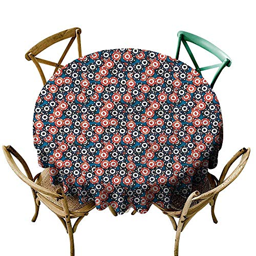 LsWOW 50 Inch Camping Round Tablecloth Casino Gambling Chips Luck Wealth Great for Bar & More