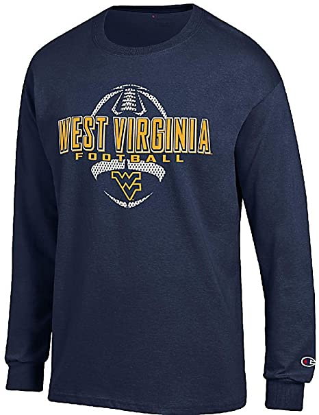 ccf7413e7464 West Virginia Mountaineers Blue Football Long Sleeve Tee Shirt by Champion  (M=40)