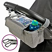 BEST Grey STROLLER ORGANIZER Plus 2 x FREE Stroller Hooks & WATERPROOF Cover. UNIVERSAL Fitting For ALL Strollers Plus Exclusive Phone-Flip-Pocket Cell Phone Holder. Must Have Stroller Accessory