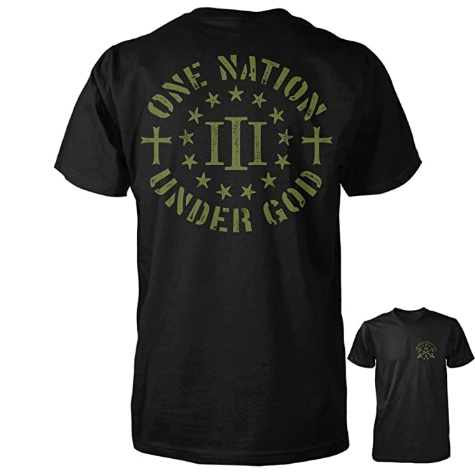 5e58a4ae1 Image Unavailable. Image not available for. Color: Three Percenter Shirt - One  Nation Under God