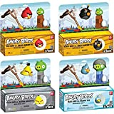 angry birds space knex - K'NEX Angry Birds Black Red Blue Yellow Bird vs. Pig 4 Building Set Toy Bundle