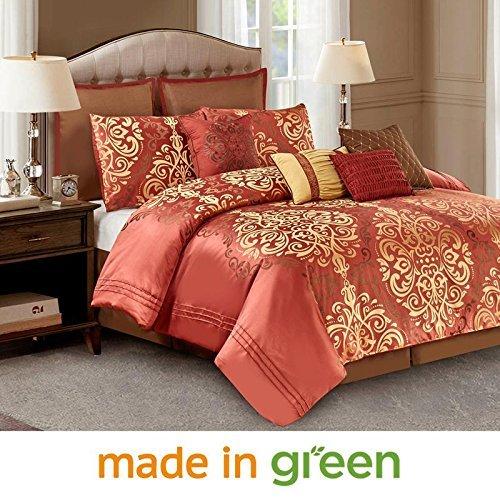 - Wonder-Home 10-pc. Luxury Royal Comforter Set, Jacquard Face & Brushed Microfiber Backing, Classic Bedding Set, Oversized & Overfilled, Timeless Design, Queen, 92