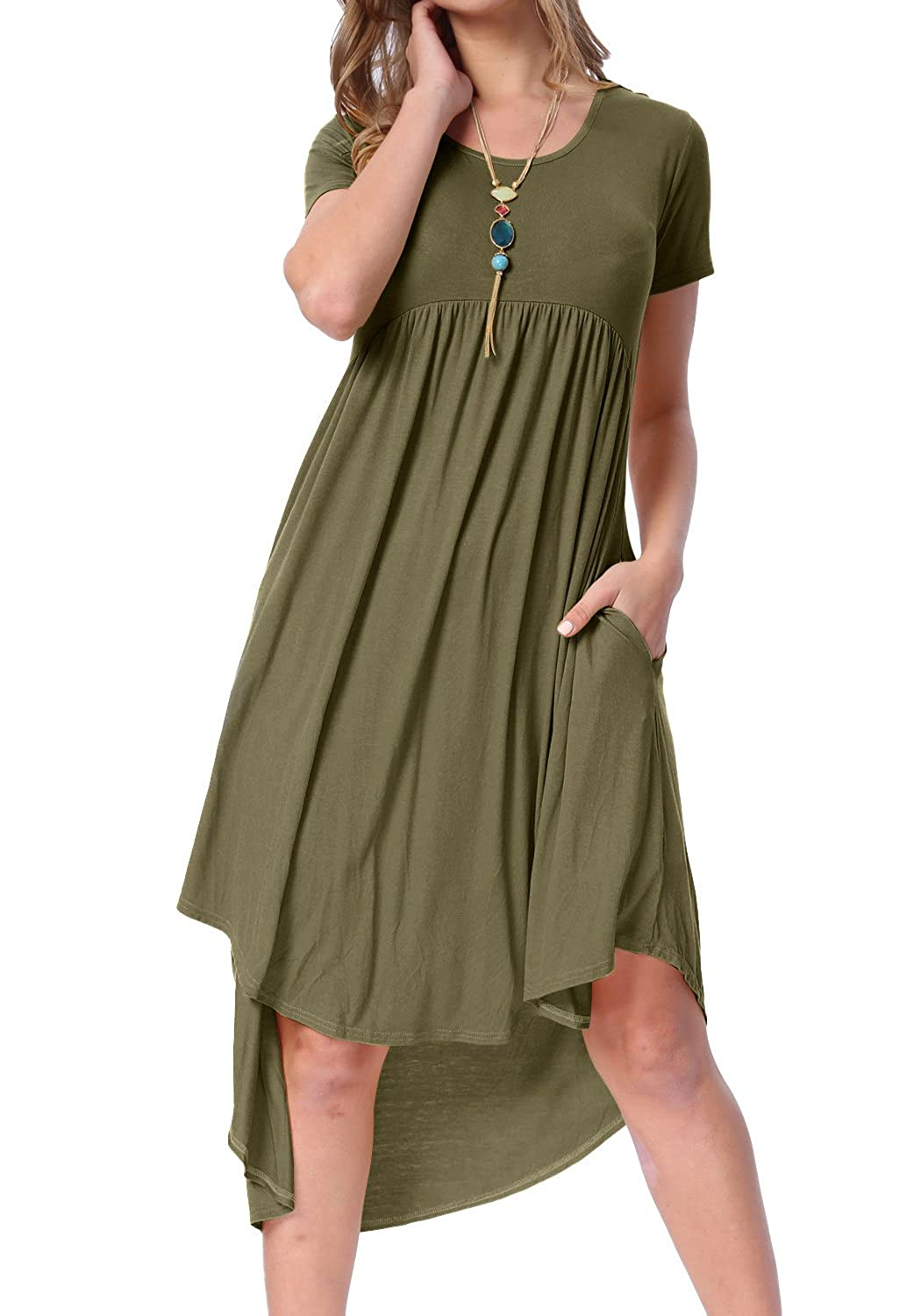 855e345cbeb levaca Women s Scoop Neck Pockets High Low Pleated Loose Swing Casual Midi  Dress at Amazon Women s Clothing store