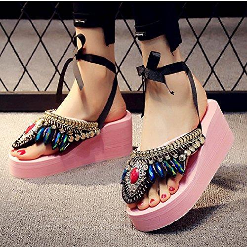 Btrada Womens Retro Bohemia Sandals Summer Beach Platform Flip-Flops Anti-Slip Wedges Pink iWqIG9vzM0
