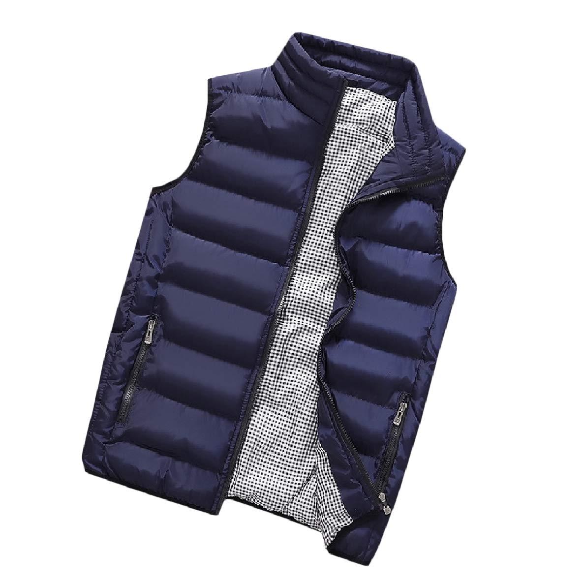 Winwinus Mens Stand up Collar Sleeveless Standard-fit Varsity Zip-up Waistcoat Down Parka