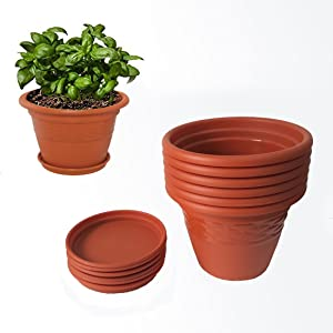 Meded Siti Plast 10 Inch Plastic Planter Pots With Bottom Tray (Pack Of 6) Colour - Terracotta