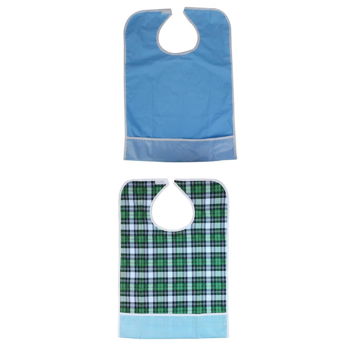 MagiDeal 2 Pieces Adult Reusable Eating Bibs Elderly Disability Aid Apron with Catch Pocket Protect Clothes Effectively