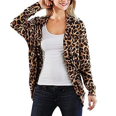 nouveau concept ba6b5 9cc50 JERFER Cardigans à imprimé léopard pour Femme Chemisier ...