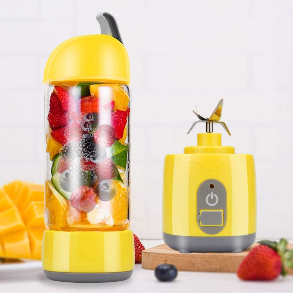 Yellow Portable Blender 60W Multifunctional Small Travel Blender with Durable Glass and 4 Titanium Blades for Outdoor Picnic Travel Gym
