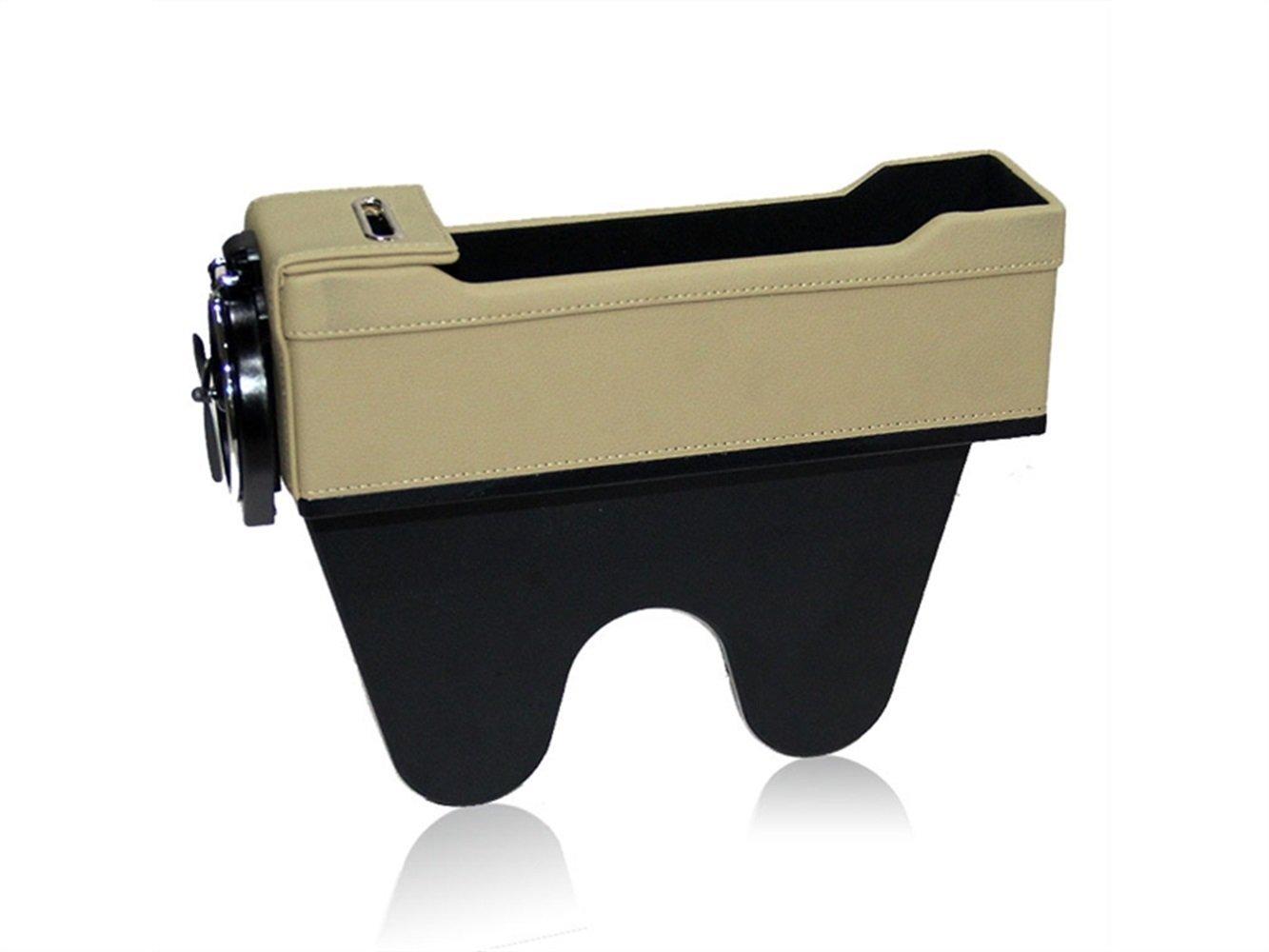 Yunqir Durable Car Seat Organizer Gap Slit Filler PU Leather Storage Box Console Side Pocket(Beige)