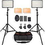 SAMTIAN 160 LEDビデオライト照明キット 78.74インチ/2M三脚 3200/5500K写真ライトスタンドセット Canon Nikon Sony DSLRカメラ撮影 キャリングケース付属