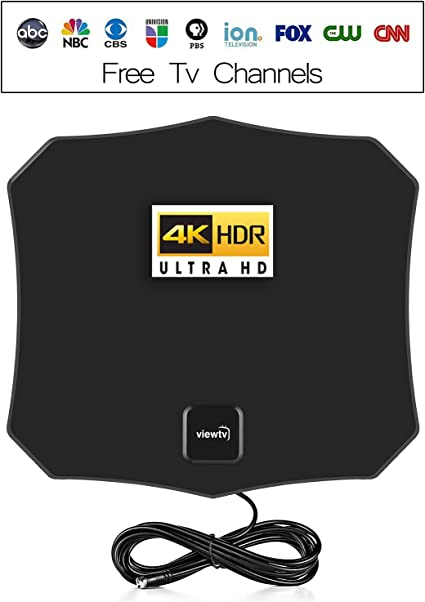ViewTV Flat HD Digital Indoor Amplified TV Antenna with Amplifier 60 Miles Range