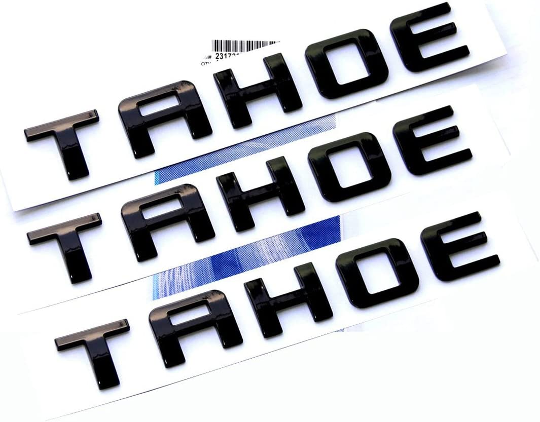 Yoaoo 3x OEM Black TAHOE Nameplate Emblems Alloy Letter Badge for Gm 07-16 TAHOE Glossy Shiny