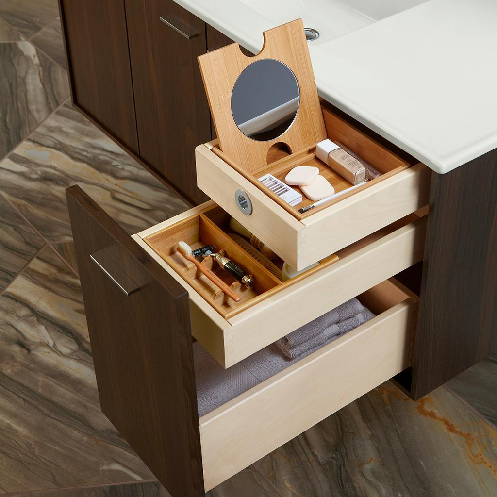 Kohler k 99541 r 1wj jute 30 inch vanity with 1 door and 1 for Small bathroom vanity with drawers