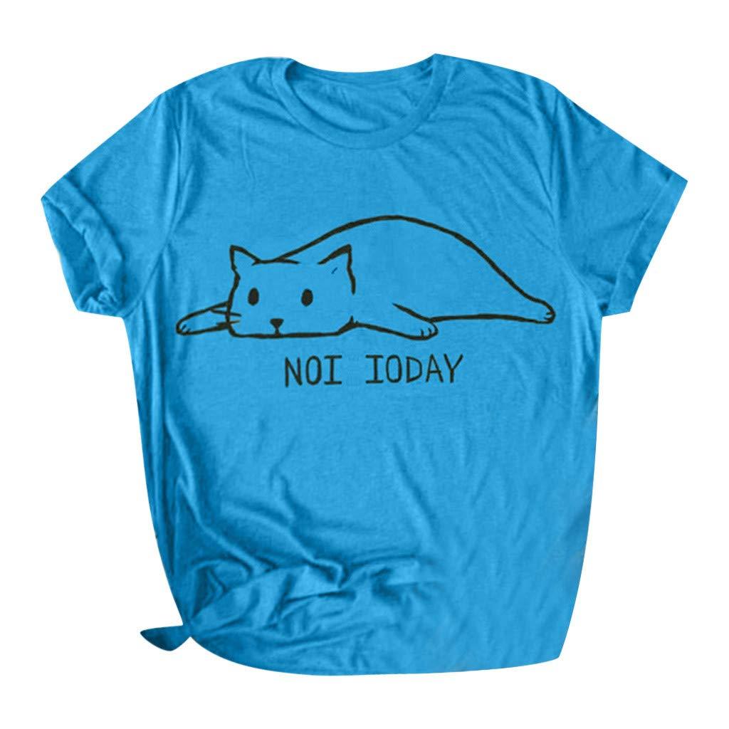 Yezijin_Women's Wear Women Casual Letter Printed Cotton Short Sleeve Cute Funny Cat T-Shirt Tops Tees Summer Casual Tank Blue