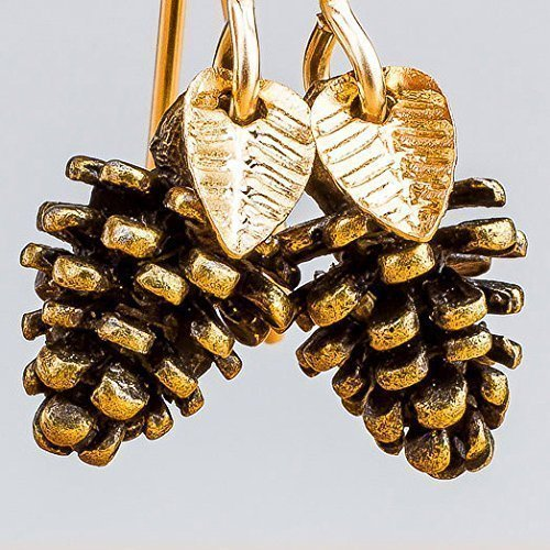 Melanie Golden Jewelry Pinecone Earrings With Leaves in Brass and 14K Gold (14k Gold Christmas Tree)