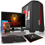Fierce EXILE Gaming PC Desktop Computer Bundle - Fast 3.8GHz Quad-Core AMD A-Series 7650K, 1TB Hard Drive, 8GB of 1600MHz DDR3 RAM / Memory, AMD Radeon R7 Integrated Graphics, Gigabyte F2A78M-HD2 Motherboard, GameMax Centauri Black Case/Blue Fans, HDMI, USB3, Wi - Fi, Perfect entry into PC Gaming, Windows 10 Installed, Keyboard and Mouse, 21.5-Inch Monitor, 3 Year Warranty 408356
