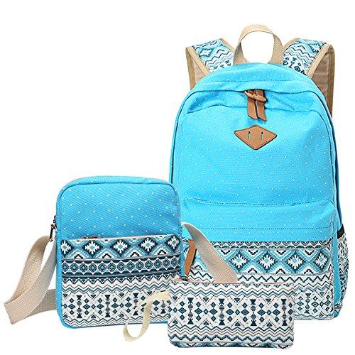 School Backpack, Aiduy Lightweight Canvas Bookbags Shoulder Daypack Handbag (Blue)