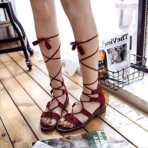 Sandals Cool Summer Tie Tassel Fashion Rome All Women'S Flat Ladies Match GTVERNH Female Heels Boots Flat Rough gules Tie wzqnI8anx