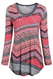 Tencole Women Long Sleeve Tunic Top,Printed Baggy Roomy Relaxed Fit Shirt Loose Fit Comfortable Blouse Round Collared Dressy Tops for Women Flowy Bottom Modest Rayon Winter Undershirts for Club BBQ XL