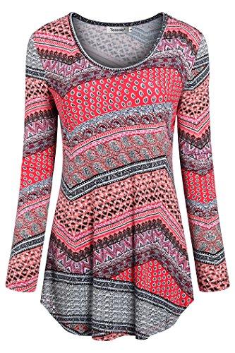 Tencole Dressy Tunics for Women, Shirts for Capri Legging Long Sleeve Scoop Neck Print Knitted Tops Shirts for Women Tunic Tops Orange Size M