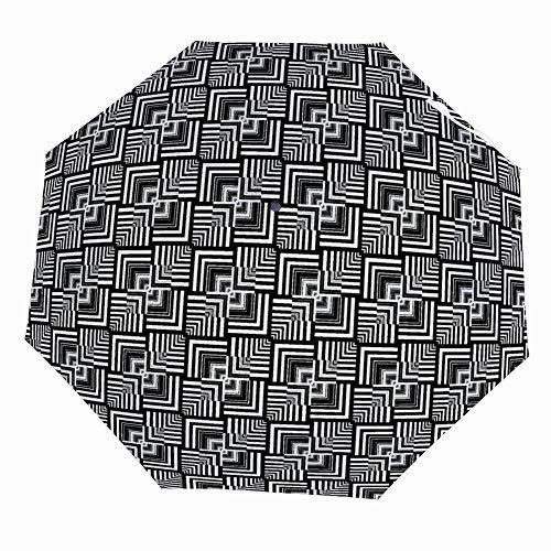 Funny Automatic Open Golf Rain Umbrellas - Compact Lightweight Travel Folding Umbrella UV Protection Windproof Parasol - Black White Geometric Op Art Optical Illusion Effect Modern