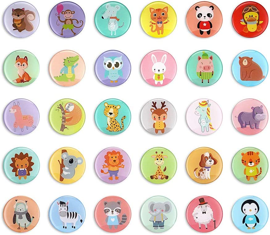 Morcart 30pcs Animal Fridge Magnets Cute Cartoon Refrigerator Magnets for School Kids Lockers Cabinets Classroom Office Whiteboard Kitchen Decorative Magnets