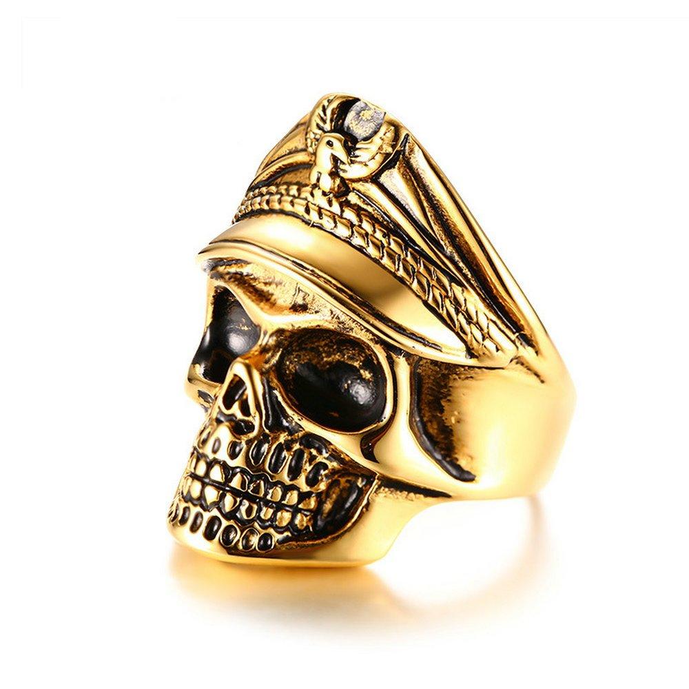 Ueice Bijoux Hommes Vintage Punk Rock en Acier Inoxydable Plaqué Or Biker Skull Ring