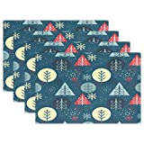 Merry Christmas Tree Snow Forest Woods Place Mat Table Mat for Kitchen Dining Room Heat Insulation Anti-skid Home Decor by MOCK ST Place Mat 12 x 18 inches Set of 4