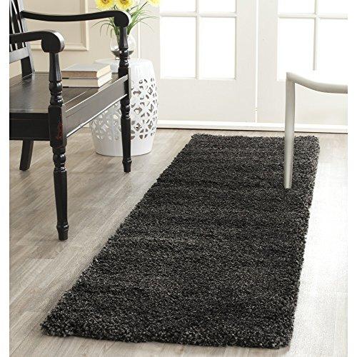 Safavieh Milan Shag Collection SG180-8484 Dark Grey Runner (2' x 6') (Black Carpet And Runners Grey)