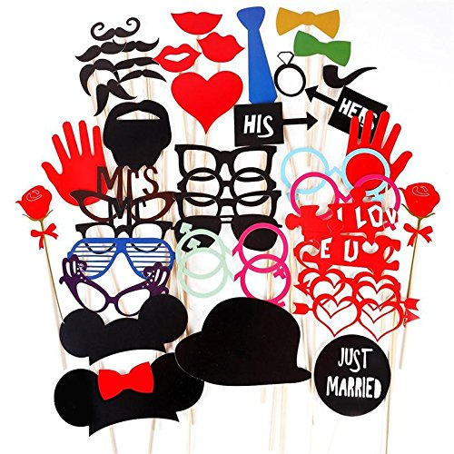 Brotrade Photo Booth Props DIY Kit for Wedding Birthday Parties Dress-up Accessories & Party Favors (49 PCS) by brotrade (Image #5)