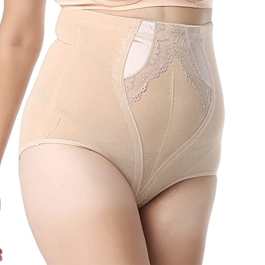 4909c9ed583cf Queenral Women  s Plus Size Control Top Underwear High Waisted Shapewear  Panties Apricot