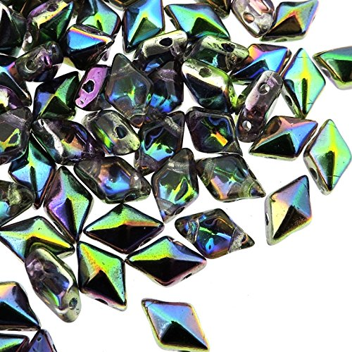 Czech Glass DiamonDuo, 2-Hole Diamond Shaped Beads 5x8mm, 10 Grams, Magic Orchid Diamond Shaped Beads
