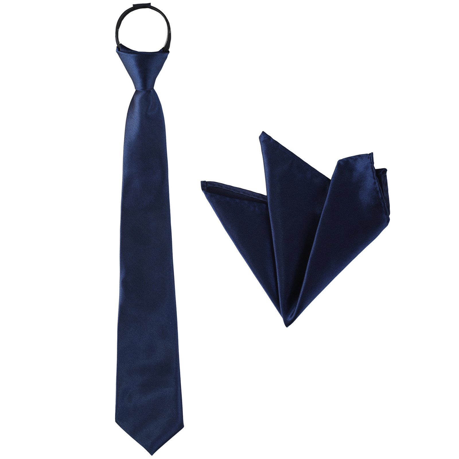 Zipper Necktie and Pocket Squares Set - of Solid Color for Kids Boys for Party (Navy Blue)