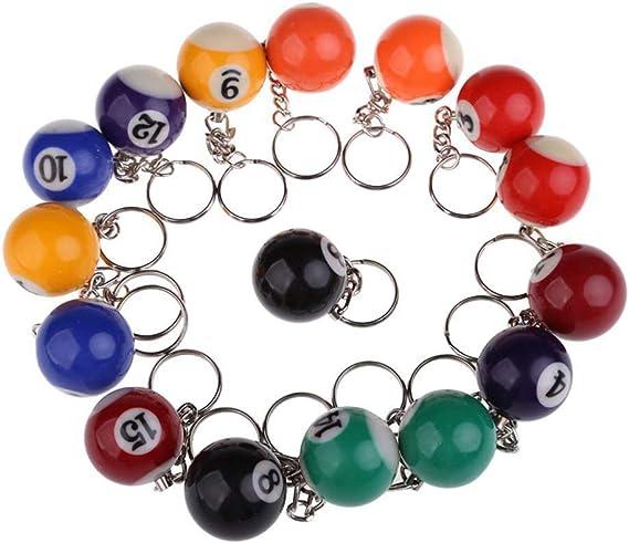 Vetrineinrete® - Llavero con Bola de Billar de 16 Piezas con número de Llavero de Caramelo con Cadena de Gancho de 4 cm de Colores y números Surtidos 4883 A88: Amazon.es: Equipaje