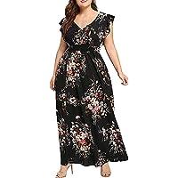 MURTIAL Women's Print Maxi Dress Plus Size Summer V Ne Floral Print Boho Sleeveless Party