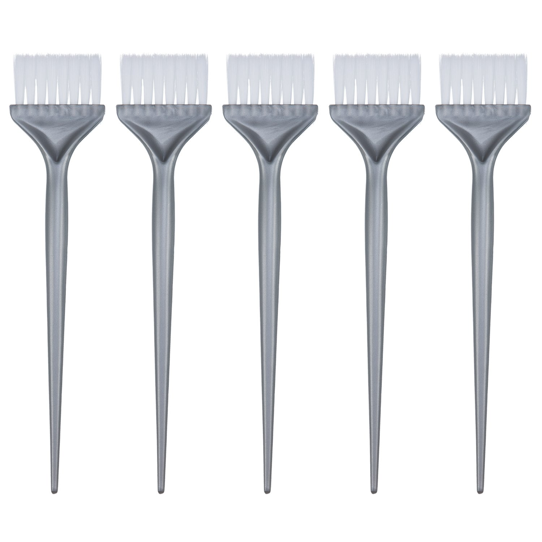 5 Pack Hair Dye Coloring Brushes Hair Coloring Dyeing Kit Handle Salon Hair Bleach Tinting DIY Tool, Silver Grey Mudder