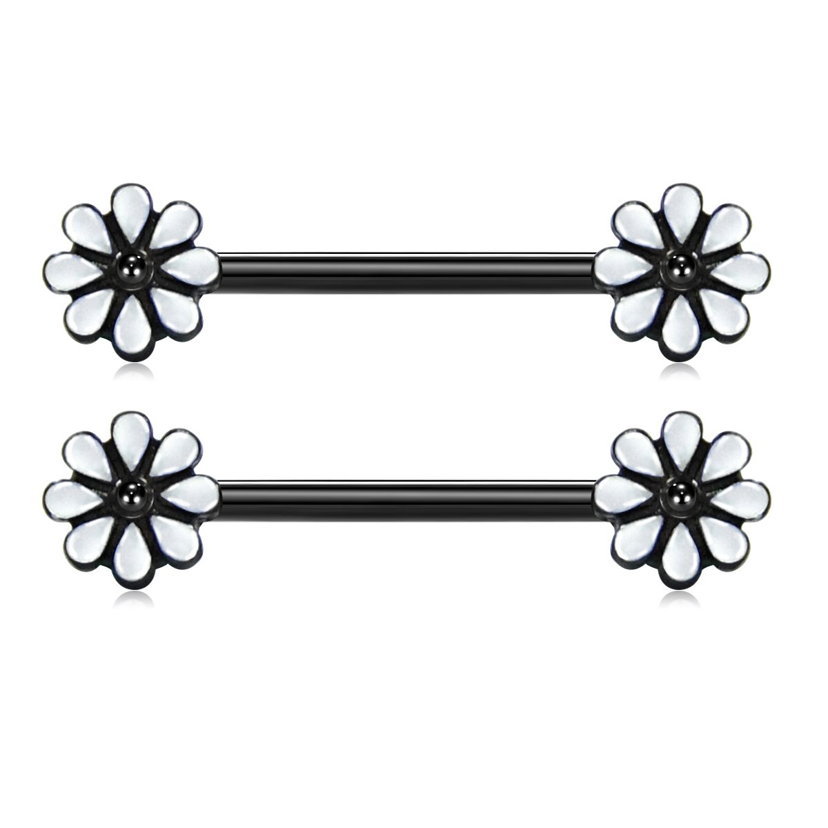 JFORYOU Pair of Spring Blossom Flower Nipple Barbell Ring Cute white Daisy Flower 14G 5/8 inch Stainless Steel Nipplepiercing JFORYOU Body Jewelry B07F1NSK49_US