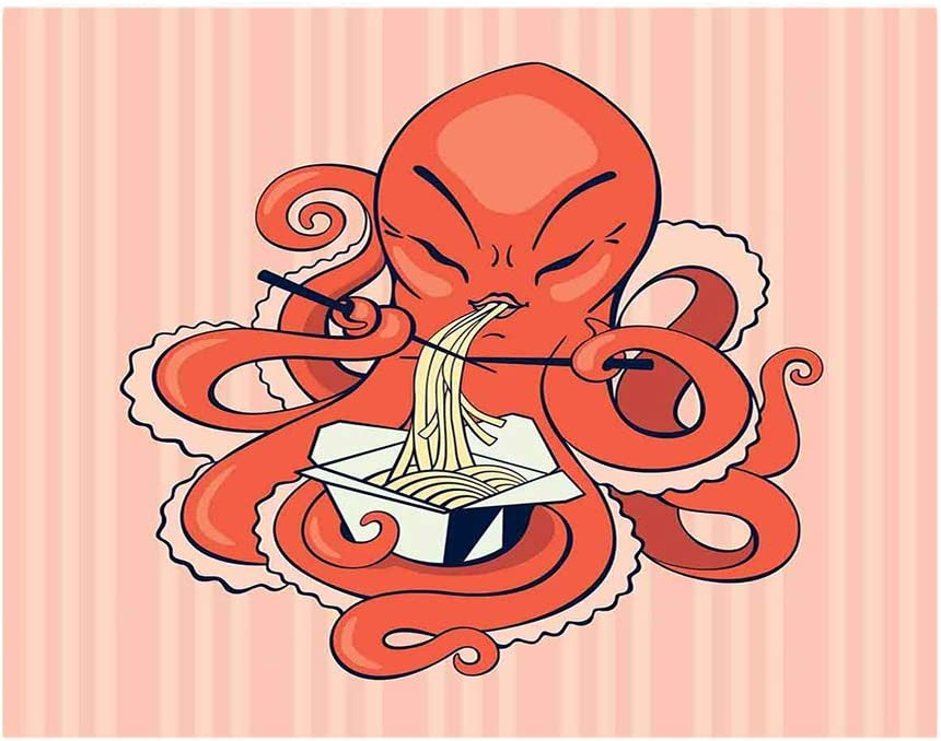 Multi Charging Cable Portable 3 in 1 A Cartoon Octopus Eating Asian Noodles with Chopsticks in Tentacles Retro Style USB Cable USB Power Cords for Cell Phone Tablets and More Devices Charging