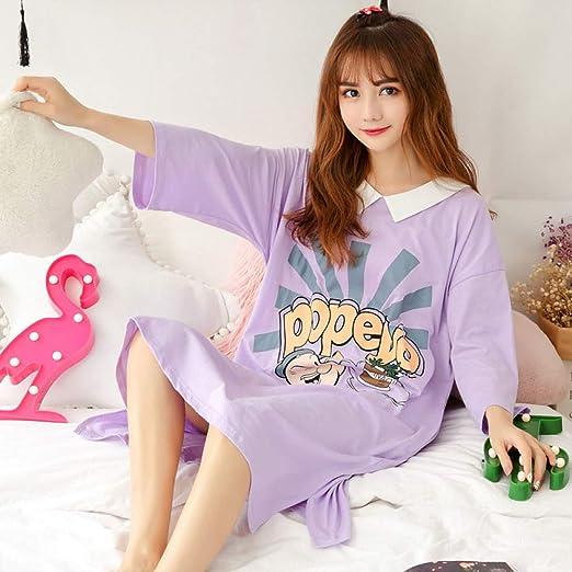 Pijama Nuevo Mono de algodón de Manga Corta para Mujer camisón Femenino Lindo algodón Suelto Servicio a Domicilio 1 XL: Amazon.es: Hogar