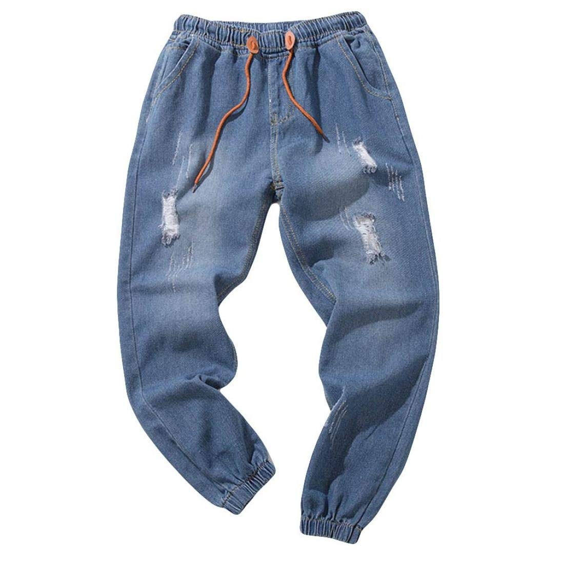 Willsa Men's Pants, Casual Plus Size Autumn Vintage Wash Denim Hole Pants Fashion Work Trousers