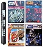 4Pack Star Wars Gift Poker Fun Novelty Heroes Darth Vader Angry Birds The Clone Wars Playing Cards Multipack with COOL Slapstick (CardsSet1)
